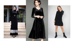 Siyah Kadife Elbise Kombinleri