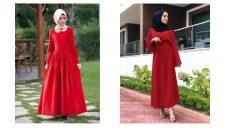 Kırmızı Elbise Kombinleri Tesettür