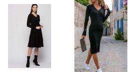 Siyah Triko Elbise Kombinleri