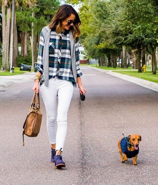 Ekose Gömlek Kombinleri : Beyaz Skinny Jeans