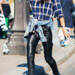 Ekose Gömlek Kombinleri : Deri Pantolon