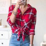 Ekose Gömlek Kombinleri : Önden Bağlanmış Kot