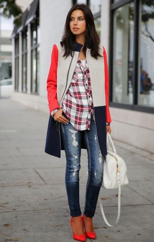 Ekose Gömlek Kombinleri : Yırtık Kot ve Kırmızı Ayakkabılar