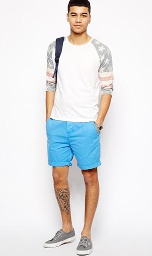 Erkek Giyim Kombinleri : Beyaz T-shirt Turkuaz Şort
