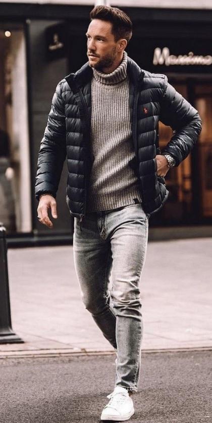 Erkek Kış Kombinleri : Kot Pantolon Boğazlı Kazak