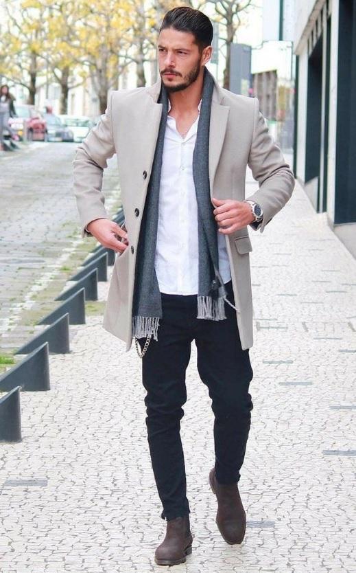 Erkek Kış Kombinleri : Palto Atkı Gömlek