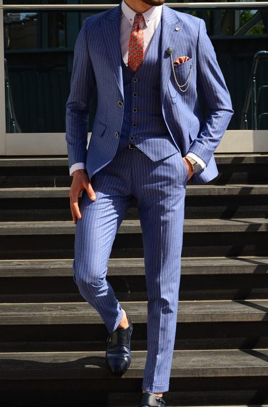 Erkek Mezuniyet Kombinleri : Mavi Çizgili Takım Elbise