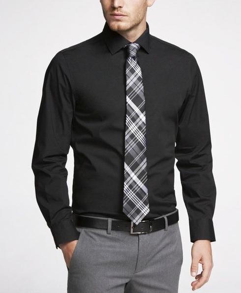 Erkek Mezuniyet Kombinleri : Siyah Uzun Kollu Gömlek Gri Pantolon Siyah Beyaz Ekose Kravat