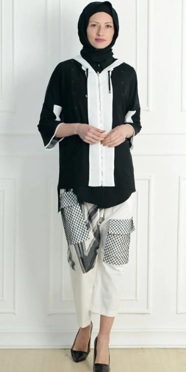 Genç Tesettür Kombinleri : NC DESIGN Kadın Beyaz Pantolon