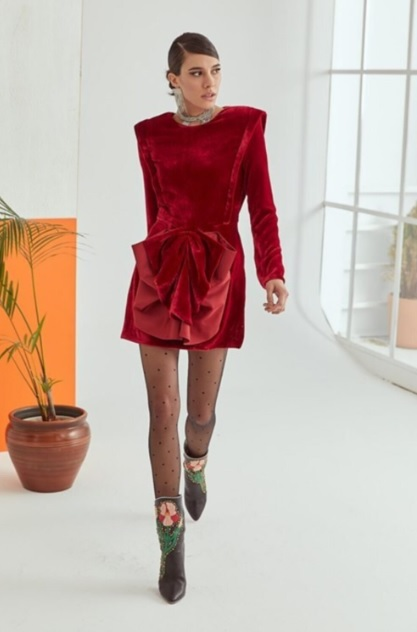 Kırmızı Kokteyl Mini İpek Kadife Elbise