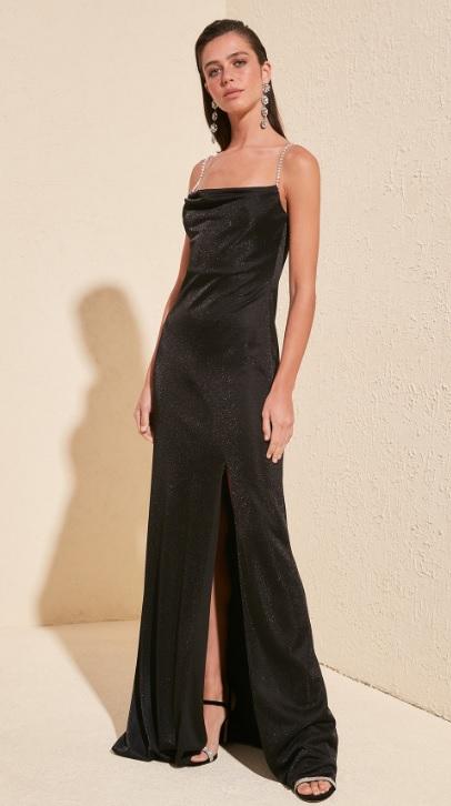 Kız İsteme Elbiseleri Siyah Askı Detaylı