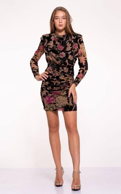Mini Çiçekli Kadife Elbise