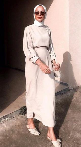 Türkan Çelik Zonnat Bej Tesettür Elbise