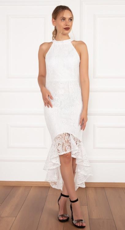 Volanlı Beyaz Renk Kız İsteme Elbiseleri