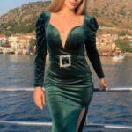 Yeşil Abiye Kadife Elbise
