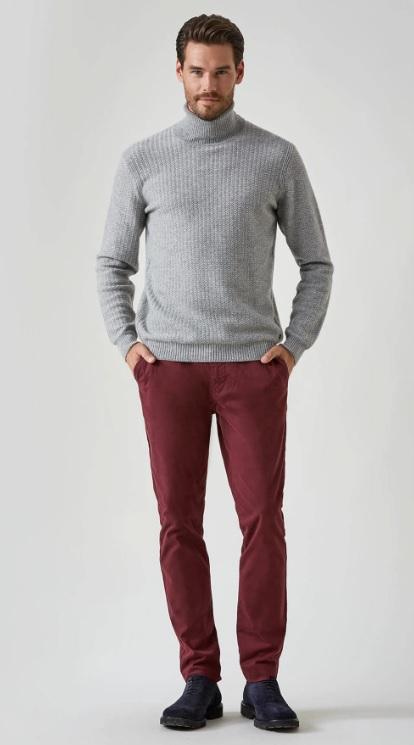 Erkek Sonbahar Kombinleri : Gri Kazak Bordo Pantolon
