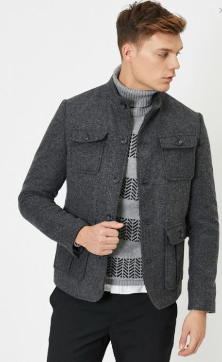 Erkek Sonbahar Kombinleri : Koton Gri Ceket