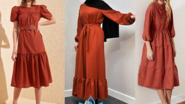 Kiremit Rengi Elbise Kombinleri