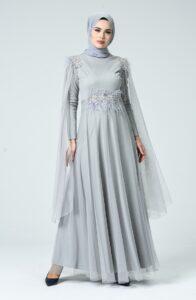 Açı kgümüş rengi elbise kombini