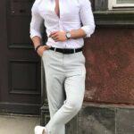 beyaz gömlek kemer ve ayakkabı kombini