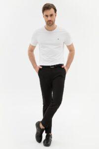Siyah kumaş pantolon kombini