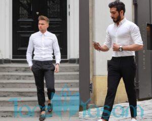 Siyah pantolon beyaz gömlek kombini
