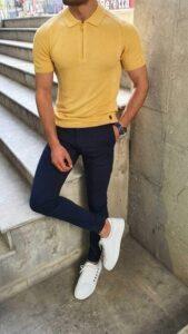 Erkek sarı tişört kombinleri