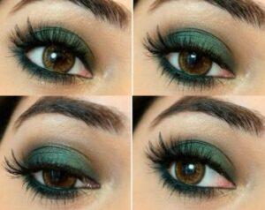Yeşil elbiseye göz makyajı
